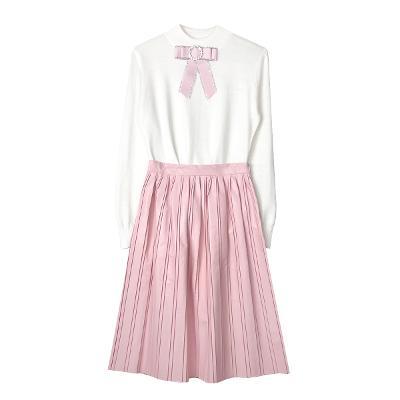broach knit white & pleats midi skirt
